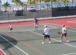 Pickleball court sharing a tennis court