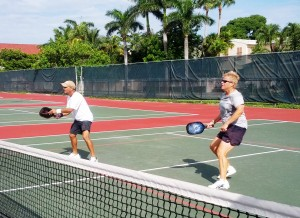 Defending a hot pickleball volley